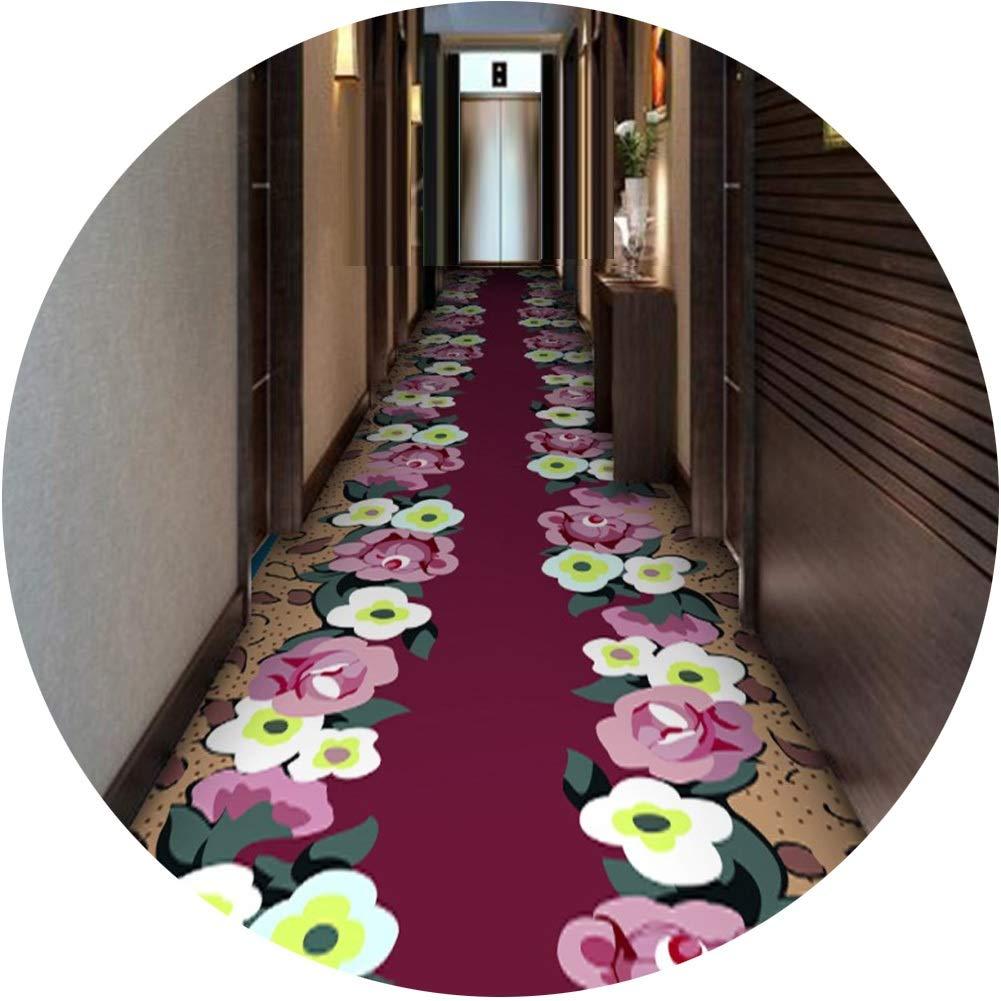 KKCF 廊下のカーペット滑り止め切れるイージーケアフラワーズカーペットカスタマイズ可能, 2スタイル (Color : A, Size : 1.6x7m) B07SN14YJF A 1.6x7m