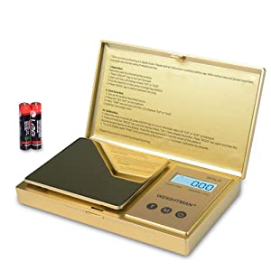 WEIGHTMAN Digital Scale Gram, 200g/0.01g Pocket Scale Gold Titanium Plating, LCD Backlit Display, Mini Jewelry Scale with 6 Units, Auto Off, Tare Function for Food, Herb, Coins, Battery Included
