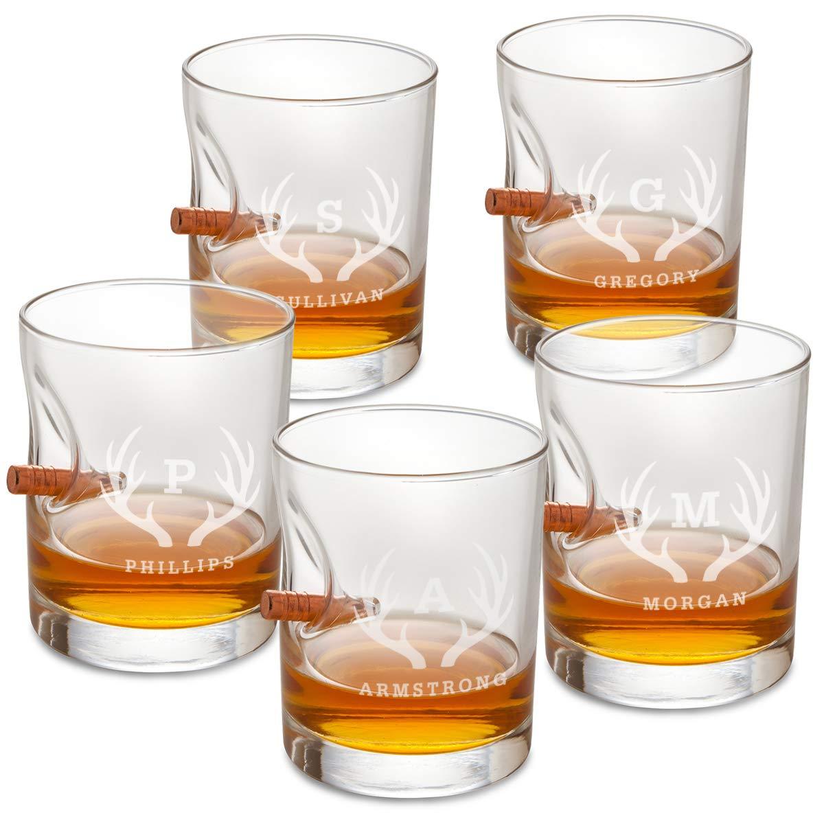 Groomsmen Gifts Set of 5 Whiskey Glasses - Lowball Glass - Bulletproof - (ANTLERS)