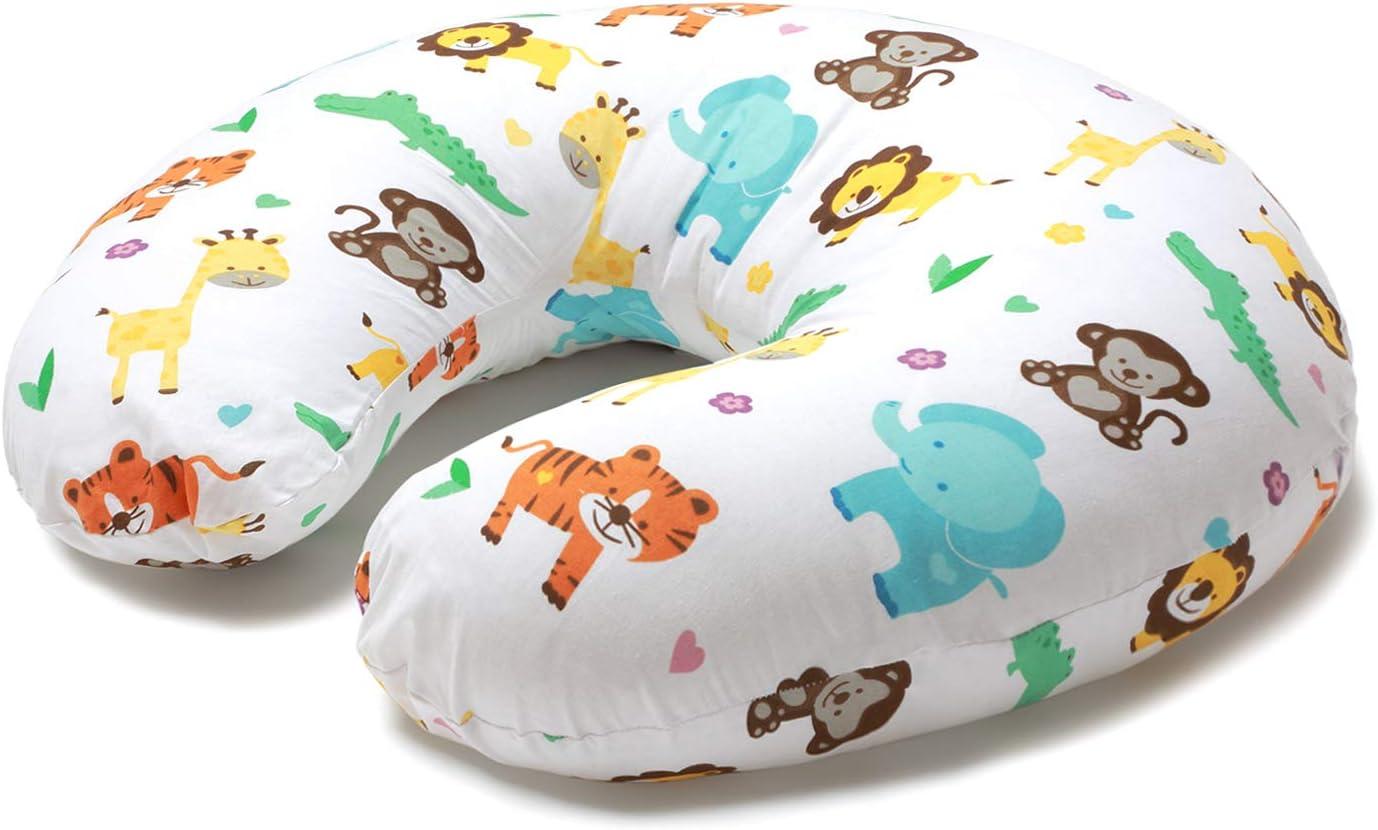 Niimo Cojin Lactancia Bebè Funda Cojin 100% Algodòn,Extraíble y Lavable Almohada Multifuncional para Madre y Bebé Relleno de Fibra de Poliéster (Selva)
