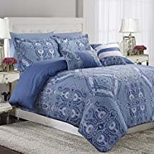 Tribeca Living Atlantis 5 Piece Egyptian Cotton Sateen printed Duvet Cover Set, King, Multi