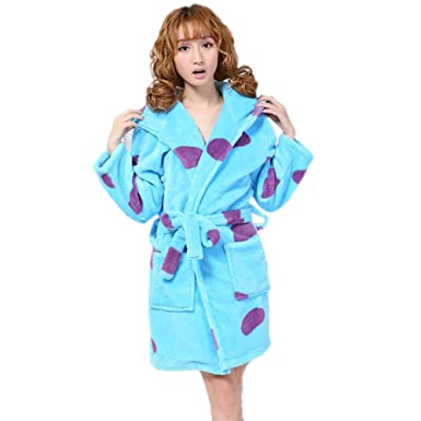 FloYoung Unisex Pajamas Blue Cow Bathrobe 2016 Sleepwear Flannel Hooded  Nightgown S 52591843c