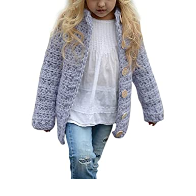 Toddler Kid Baby Girl Clothes Button Knitted Sweater Cardigan Coat Outwear 3-7T