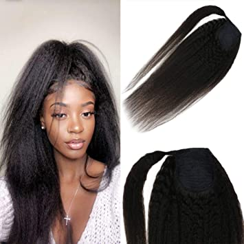 Joyoung 24inch Kinky Straight Long Curly Ponytail Human Hair Extensions For Black Women Natural Black