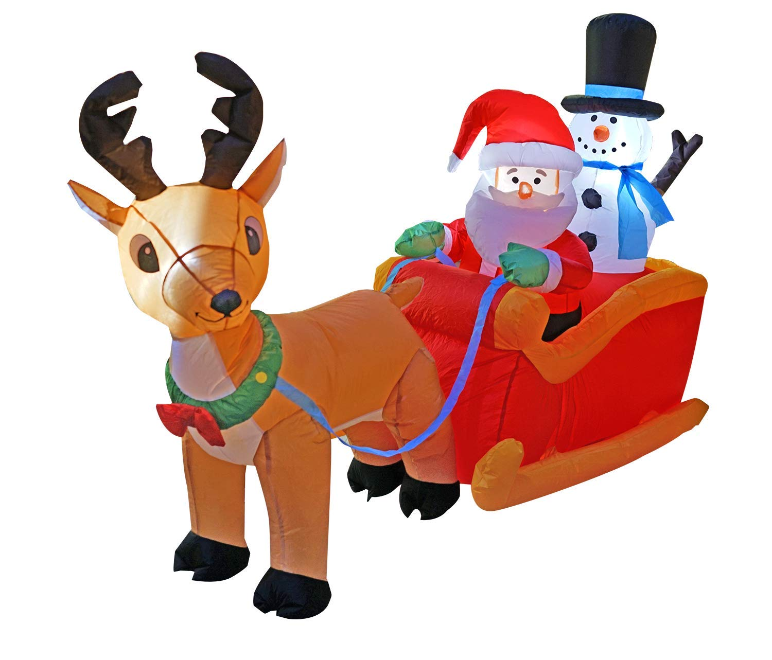 SEASONBLOW 6.6 Ft Christmas Reindeer Pull The Sleigh Take Santa Claus and Snowman,Inflatables Decorations Indoor Outdoor for Party Home Yard Lawn