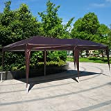 Cheap Wedding Party Tent Easy Pop Up Folding Outdoor Canopy Screen Sun Shelters Houses Gazebos Heavy Duty with Sides Sidewalls for BBQ Carport with Carrying Bag-10′ X 20′ With 4 Removable Walls (Brown)