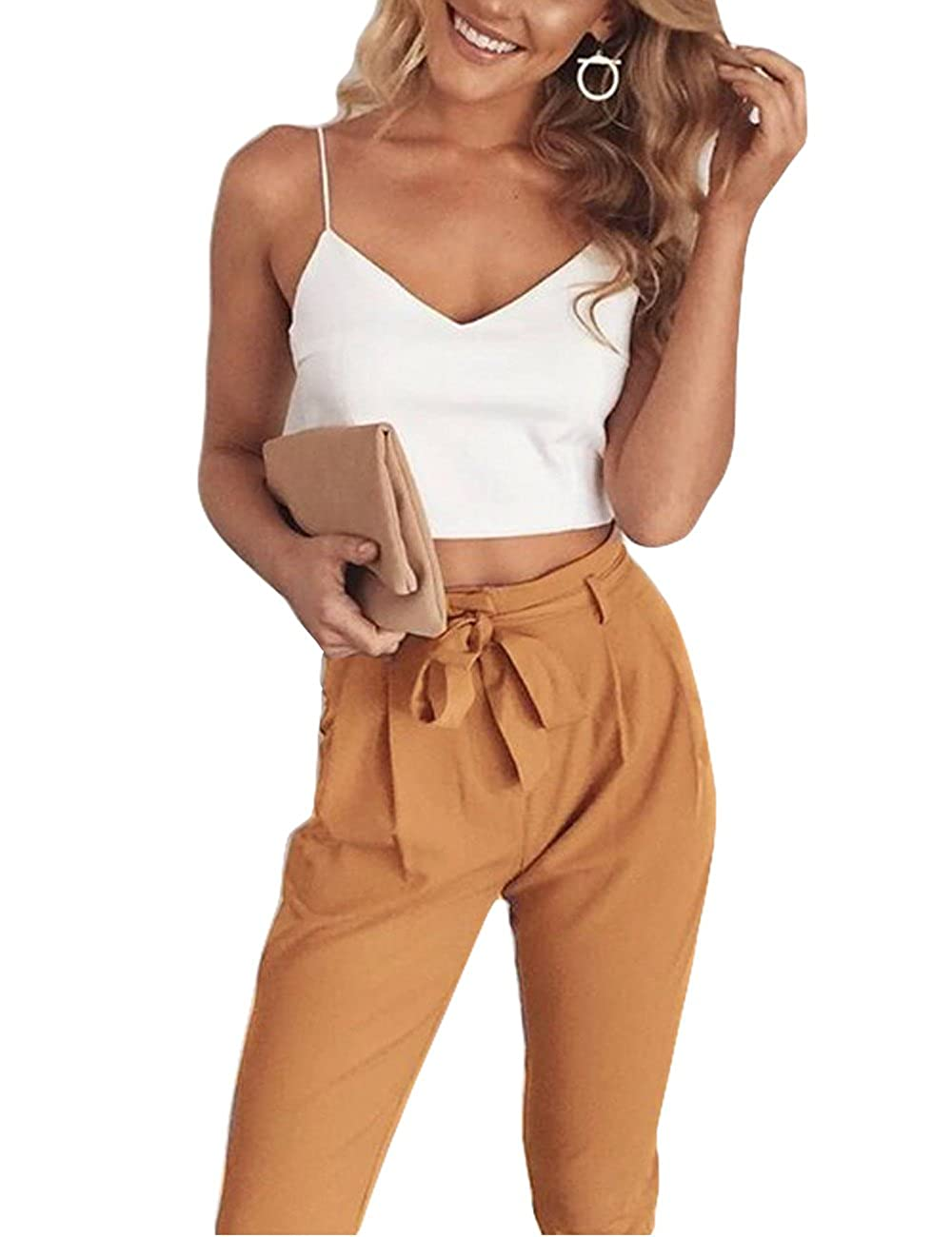 e037ef64be71 YUANMO Two Piece Outfits for Women Sexy Halter Crop top with Trouser with Belt  2 pcs Set Summer  Amazon.co.uk  Clothing