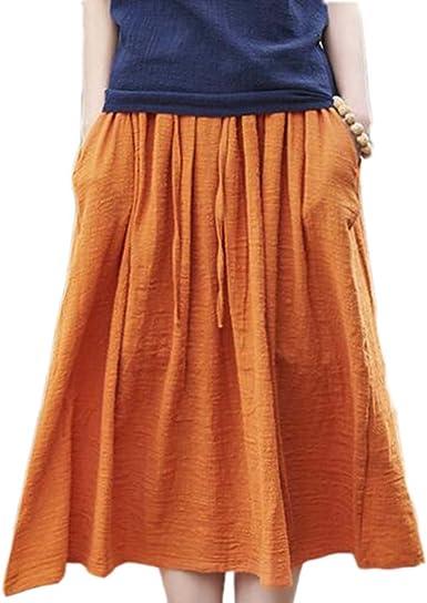 Huateng Falda Larga de algodón para Mujer - Falda de tutú Nacional Vintage Informal Suelta de Moda: Amazon.es: Ropa y accesorios