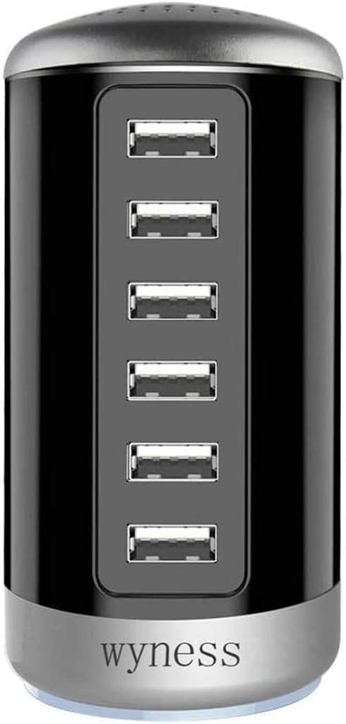 6 Ports Desktop Charging Station,USB Hub Wall Charger with QC 2.1,Compatible for Smart Phones, Tablets, and Other Electronics (Black )