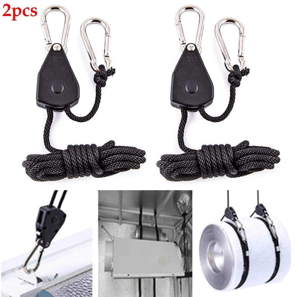 150lbs Weight Capacity\u200b Lzdingli Mountaineering Safety Equipment 1 Pair 1//8 Inch Adjustable Heavy Duty Rope Clip Hanger 2 Pack for Climbing Enthusiast Grow Light Ratchet Hanger