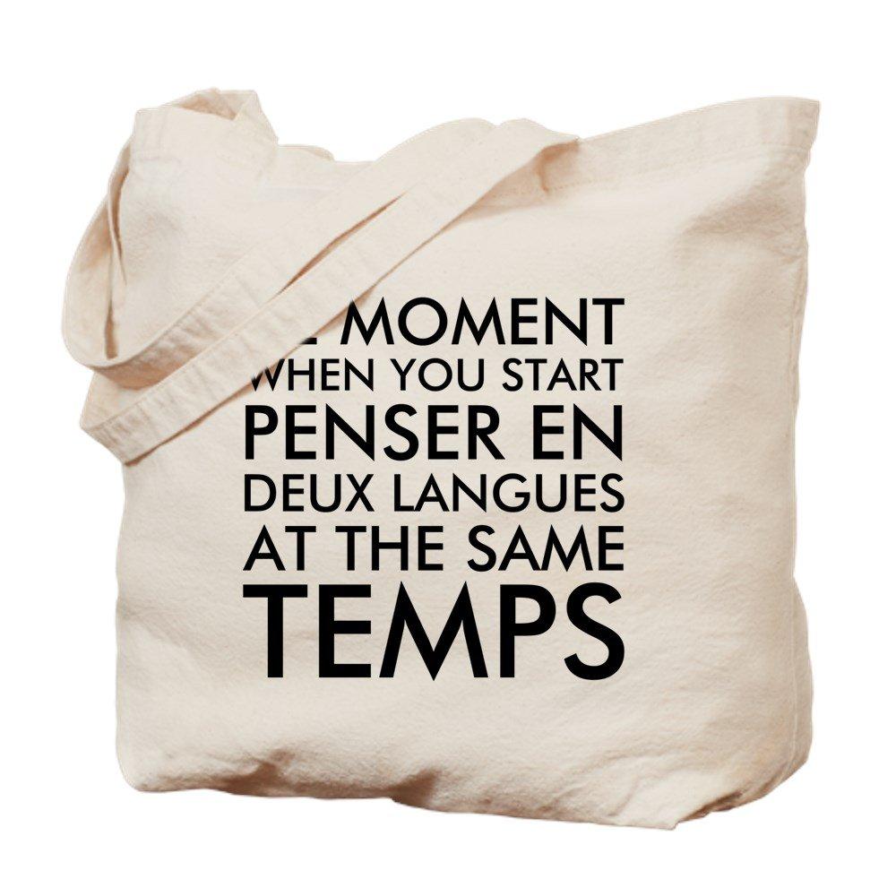 CafePress – フランス語と英語でThinking – ナチュラルキャンバストートバッグ、布ショッピングバッグ B06X96TR32