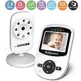GooDee 2.4 Zoll LCD Drahtlos Babyphone Wireless Video Baby Monitor Babyviewer mit Kamera Temperatur Musik VOX Modus Temperaturüberwachung Schwarz und Weiß