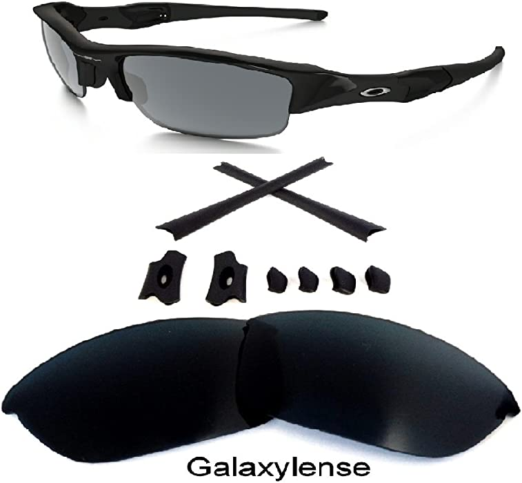 03696e435a Amazon.com  Galaxy Replacement Lens + Rubber Kits For Oakley Flak Jacket  Sunglasses Black  Clothing