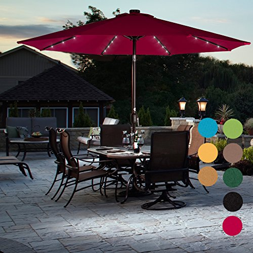 Sundale Outdoor Solar Powered 32 LED Lighted Patio Umbrella Table Market Umbrella with Crank and Push Button Tilt for Garden, Deck, Backyard, Pool, 8 Steel Ribs, 9 Feet, Red by Sundale Outdoor