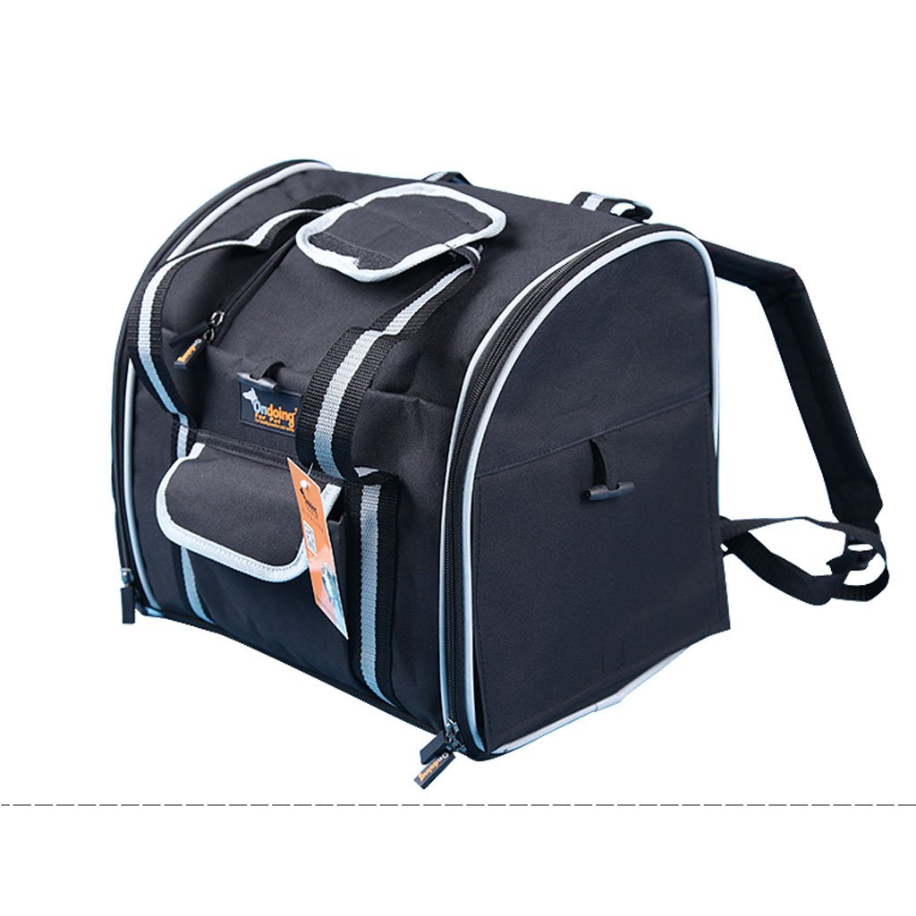 Black Pet Bag Out of Portable Double Shoulder Zipper Package Pet Supplies Chest Backpack Light and Practical