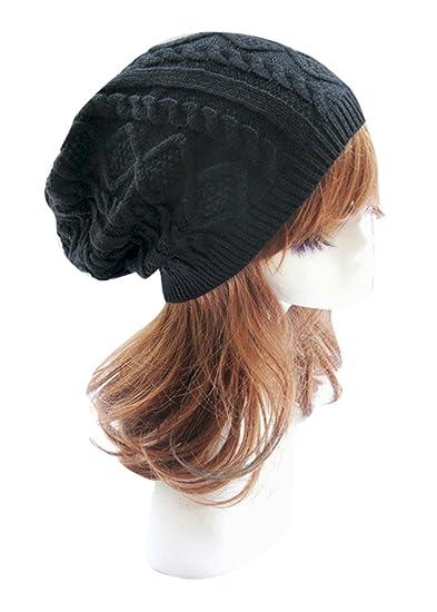 vimans Black Knitted Caps for Women Soft Beanie Hat for Girls Floppy Beanie  Cap c7ef29aff87