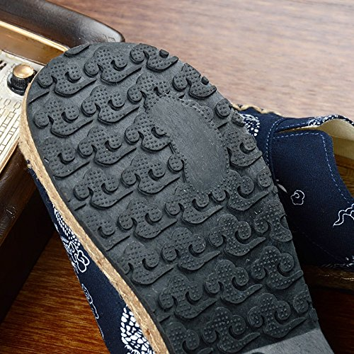 MONAcwe Flip-flops sandali ciabattine Estate donne Lino pantofole uomini e donne Estate Baotou pantofole Half-Tug paio di pantofole in tessuto di paglia pantofole uomini,Blu scuro,40 Blu scuro dea588