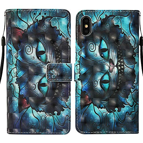 MerKuyom [Rhinestones 3D Case] Compatible with iPhone Xs Max, [Kickstand] iPhone Xs MAX Premium PU Leather Wallet Pouch Flip Stand Cover Skin for iPhone Xs Max 6.5