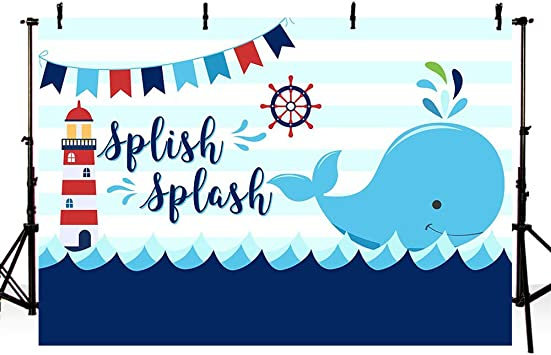 8x8FT Vinyl Photography Backdrop,Whale,Marine Animal Sketch Background for Graduation Prom Dance Decor Photo Booth Studio Prop Banner