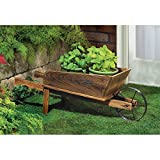 NEW Wooden Wheelbarrow Country Cart Plant Stand Yard Garden Planter Review