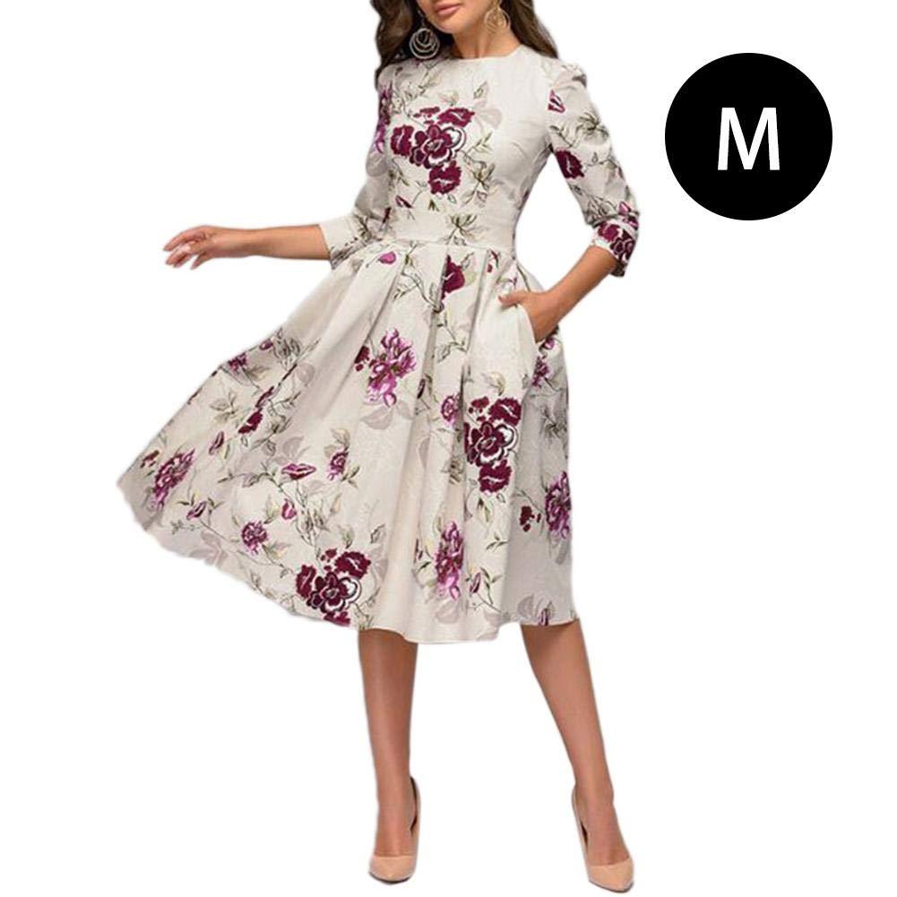 Hearthrousy Damen Tunikakleid Sommerkleid Kleider Partykleid Damen Vintage Patchwork Taschen Lässig A-Linie