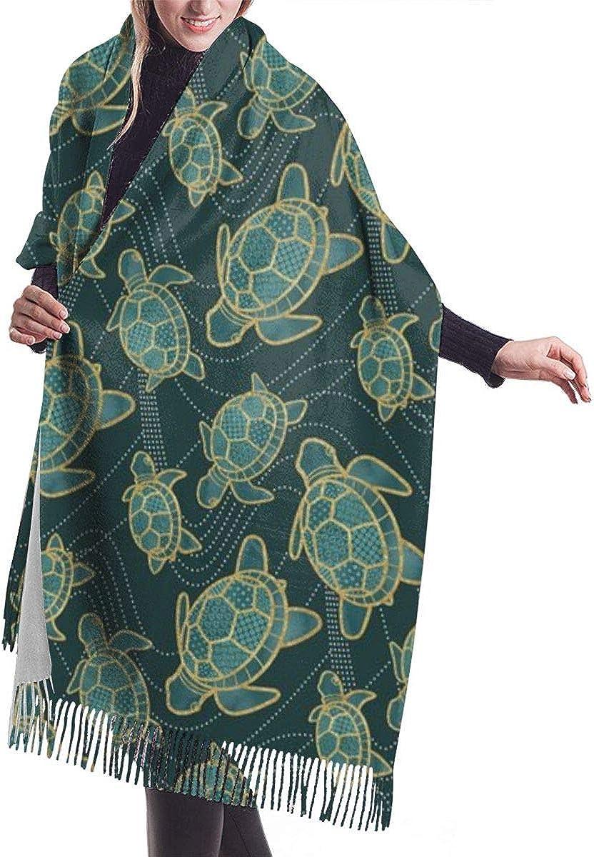 Japonés Estanque tortuga verde azulado chal abrigo invierno bufanda caliente capa grande bufanda de gran tamaño bufandas para las mujeres
