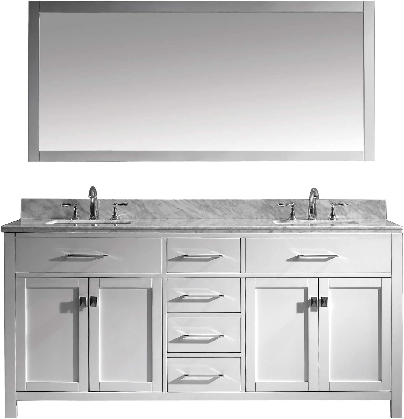 Virtu Usa Md 2072 Wmsq Wh Caroline Bathroom Vanity 72 Inches White Double Vanity With Marble Top