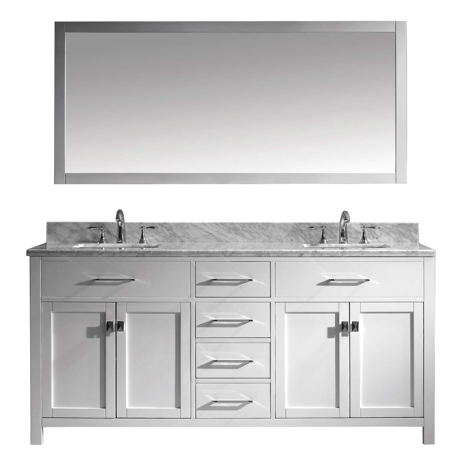 Awesome Virtu Usa Md 2072 Wmsq Wh Caroline Bathroom Vanity 72 Inches White Home Interior And Landscaping Ponolsignezvosmurscom