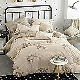 TheFit Paisley Textile Bedding for Adult U1570 Love Dinosaur Duvet Cover Set 100% Cotton, Queen Set, 4 Pieces