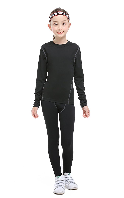 TOURME Kids Athletic Long Sleeve Compression Shirts Pant 2 Pcs Set for Boy Girl