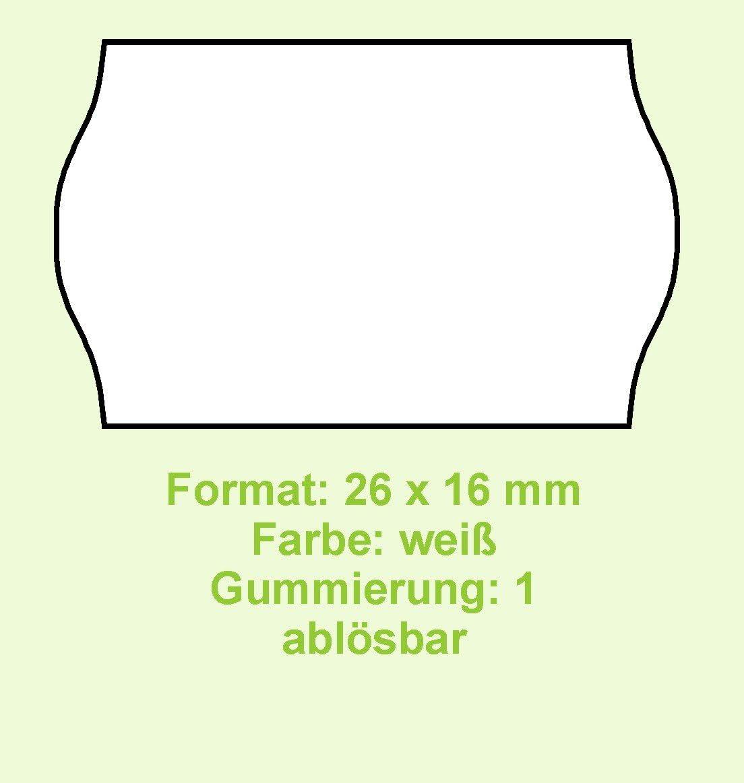 abl/ösbar Made in Germany Gum 1 36 Rollen Original CreenLine Haftetiketten Format 26 x 16 mm wei/ß