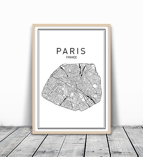 Amazoncom Paris Map Print Paris Map Map Art Map Of Paris City - Modern map of paris