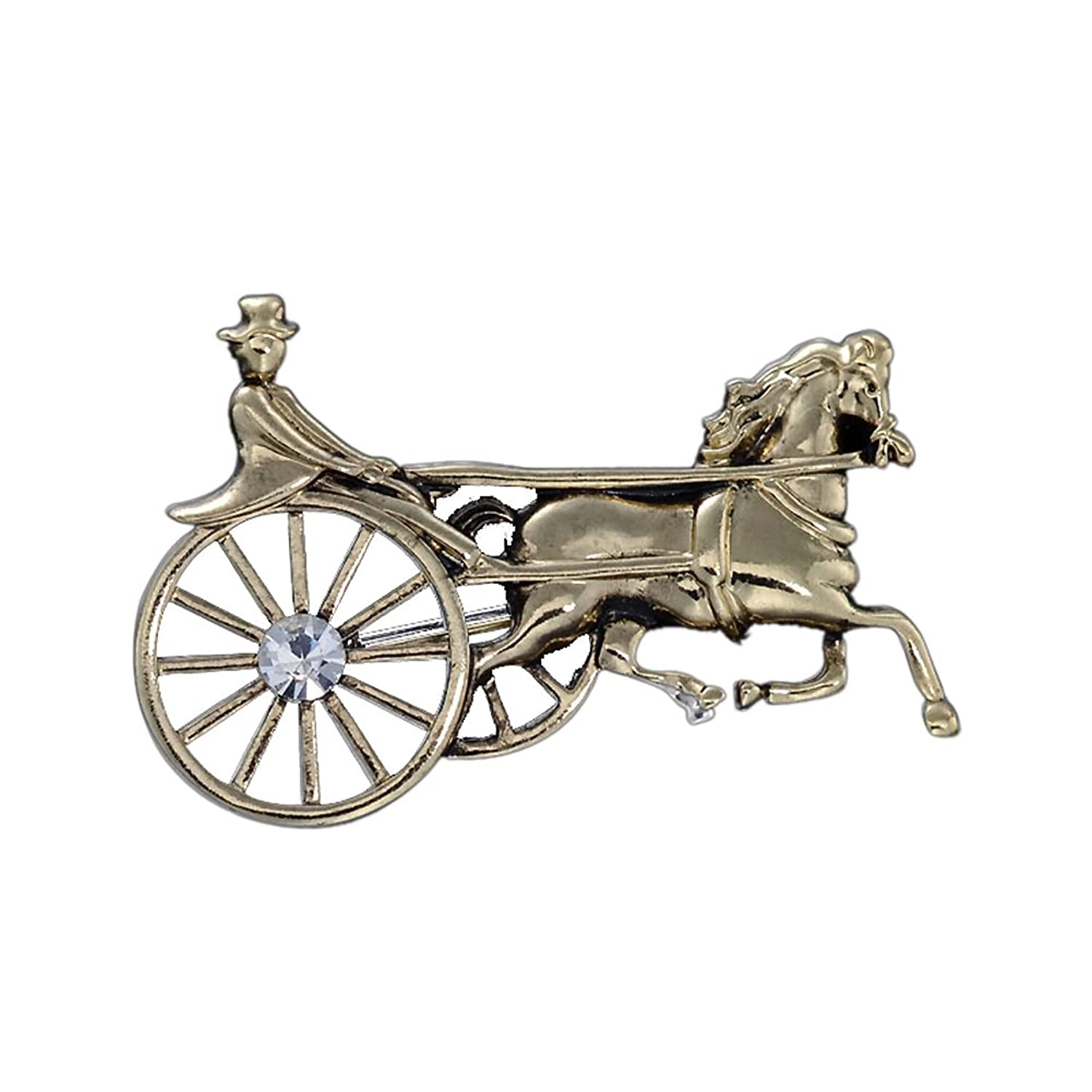 OUDUO Women's Vintage Horse-drawn Vehicle Brooch Pin Bronze