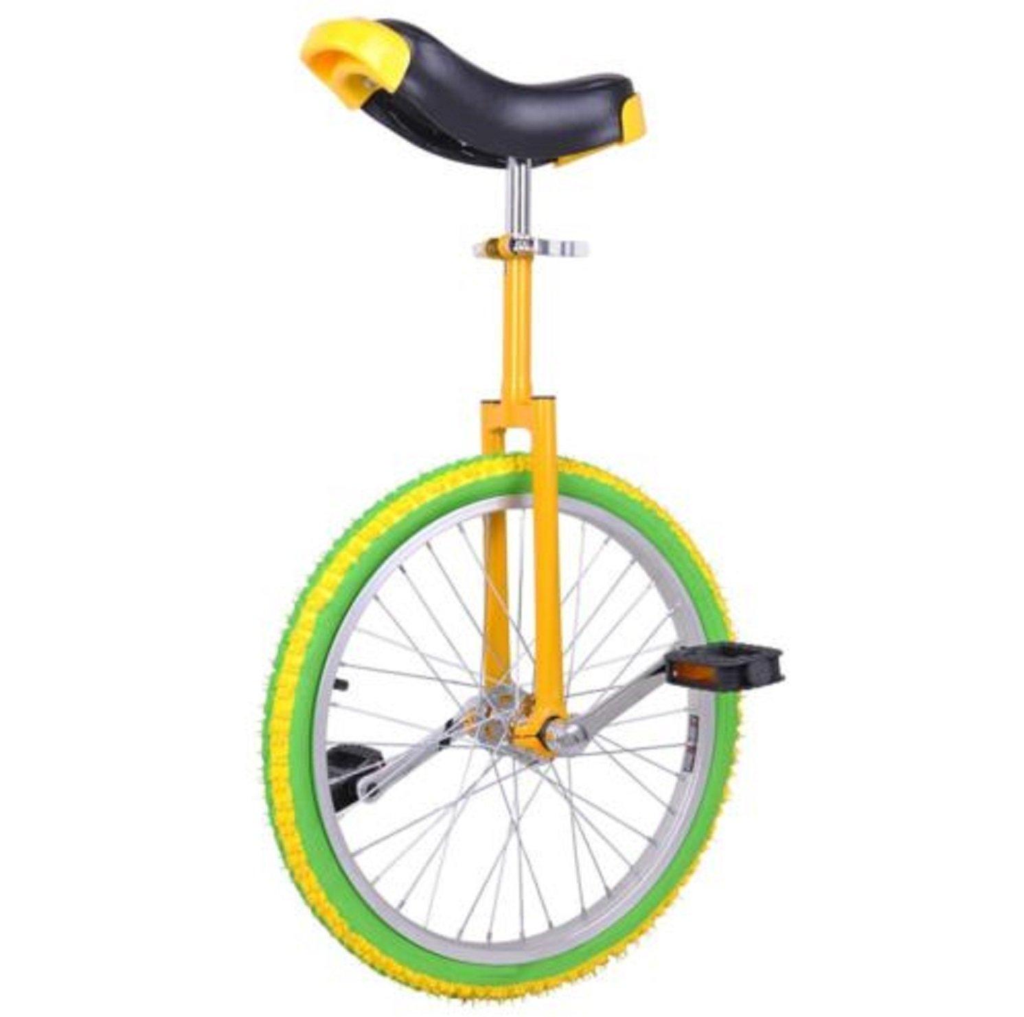 20'' Adjustable Height Leakproof Mountain Tire Unicycle Wheel Cycling Yellow