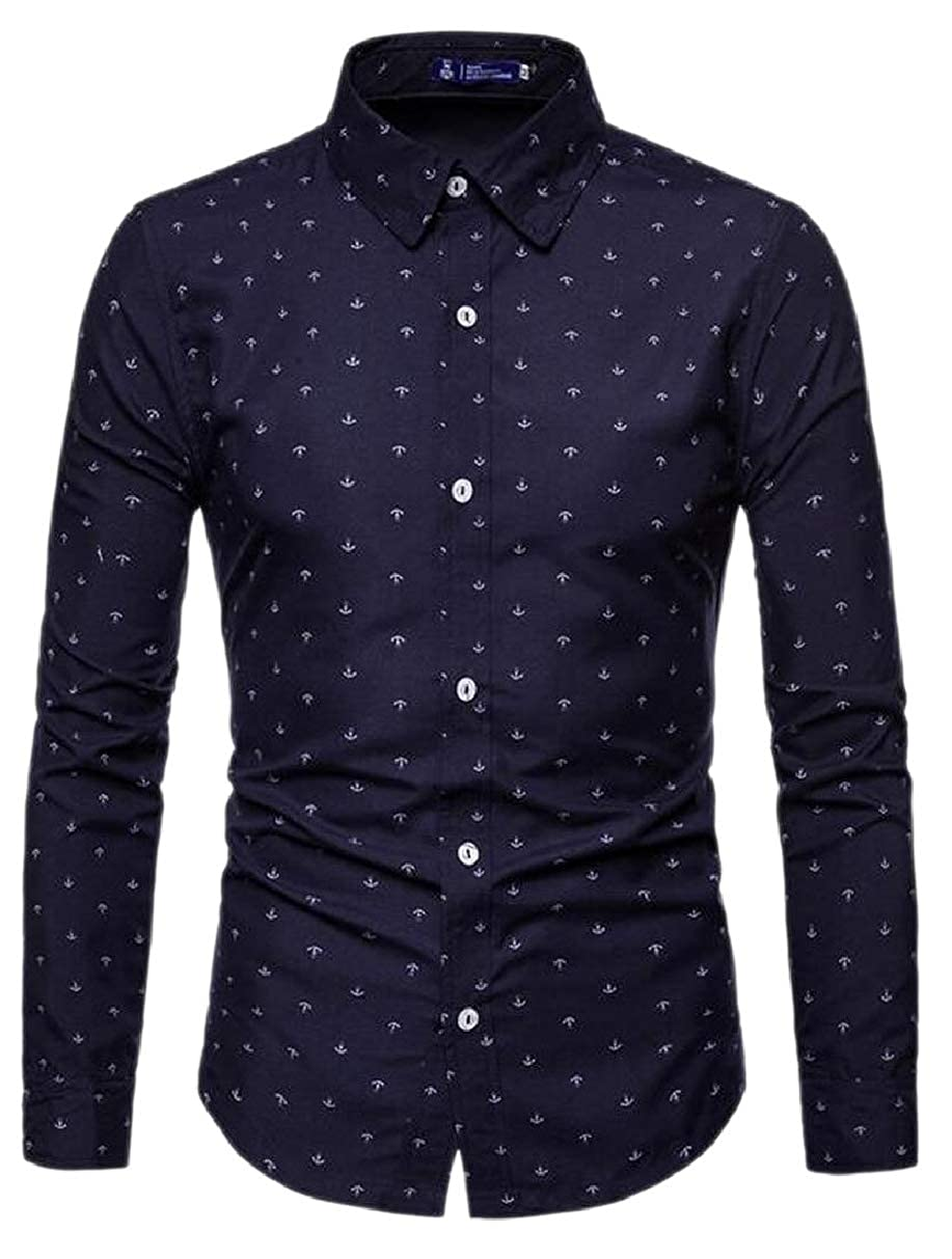 Xswsy XG Mens Long-Sleeved Anchor-Print Business Fit Casual Slim Button Front Shirts