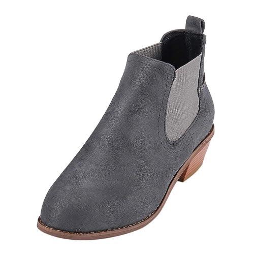 Botas para Mujer,Modaworld Botines Sin Cordones con Tacón Botines Retro Botas Ásperas Botas De Piel para Mujer: Amazon.es: Zapatos y complementos
