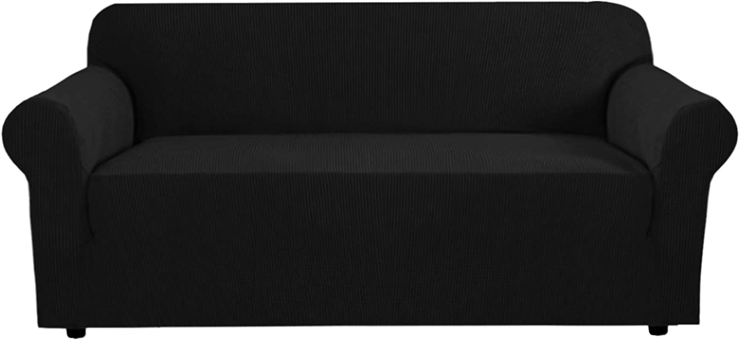 """Stretch Sofa Covers Couch Cover Furniture Protector Sofa Slipcover for 72""""-96"""" Wide 1-Piece Feature High Spandex Fabric with Elastic Bottom (Large - Black)"""