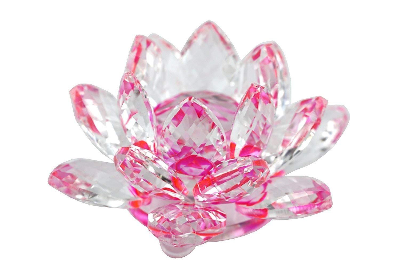 Crystal Sparkle Crystal Lotus Flower Feng Shui Home Decor (PINK)