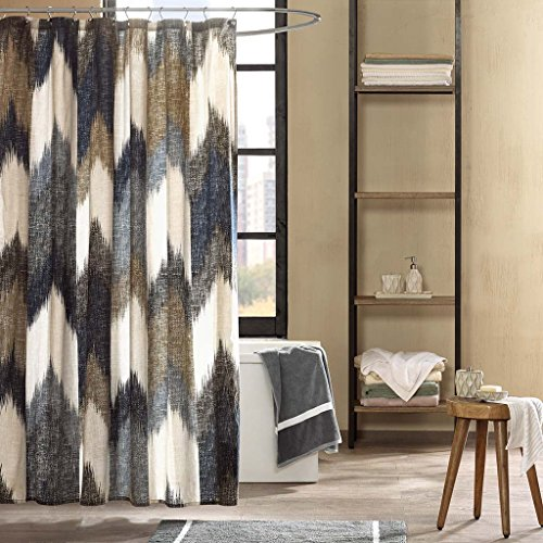 Ivy Printed - INK+IVY II70-541 Alpine Cotton Printed Shower Curtain 72x72