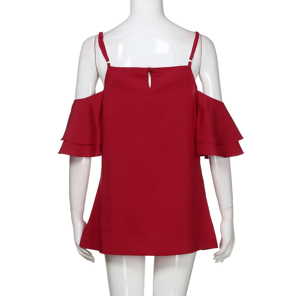 Libermall Women's Casual Summer Short Sleeve T-Shirts Sexy Halter Off Shoulder Loose Tunic Shirt Blouse Tops Red by Libermall Blouses (Image #4)