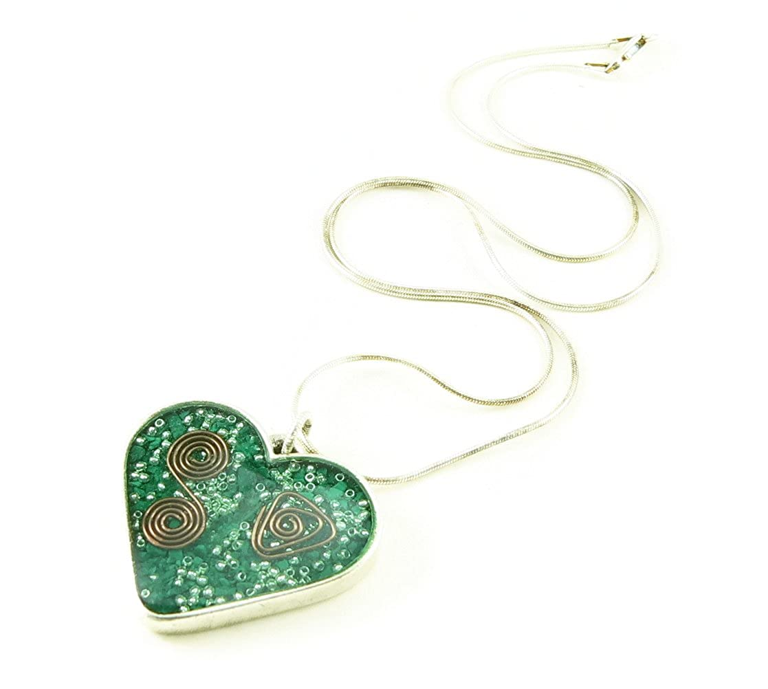 LKS Originals Orgone Energy Valentine Heart Necklace in Antique Silver Finish with Malachite