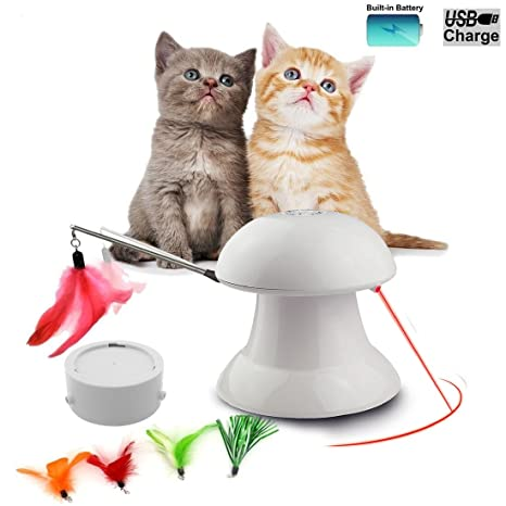 FIRIK Juguete de Gato Interactivo Automático de Luz de Rotación Práctica Pequeño Gato Mediano Juguete -