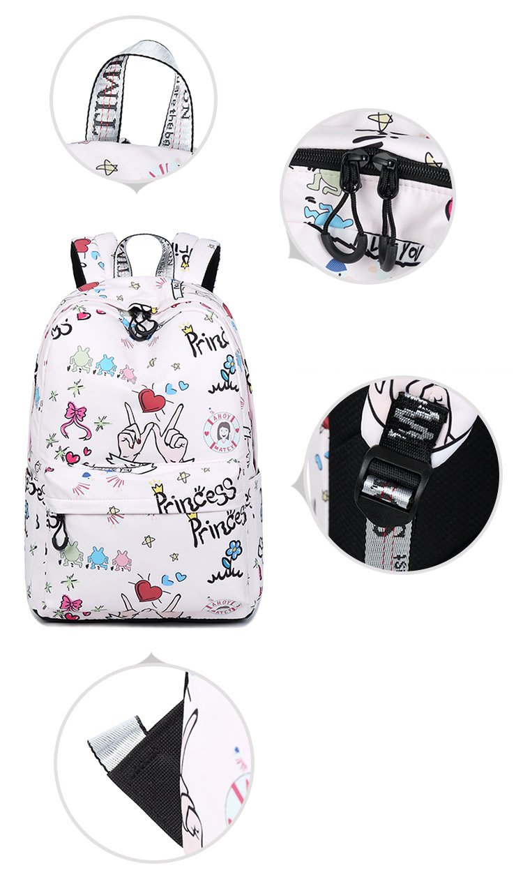 Amazon.com: Youth Waterproof Polyester Fabric Women Backpacks Cute Cartoon Pattern Printing College Girls Daily Laptop Mochila Pink 14 Inches: Sports & ...