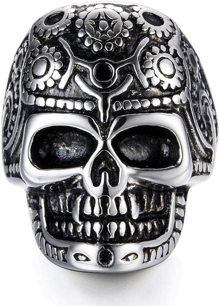 JEWURA Biker Ring Fashion Stainless Steel Jewelry Mechanical Robot Skull
