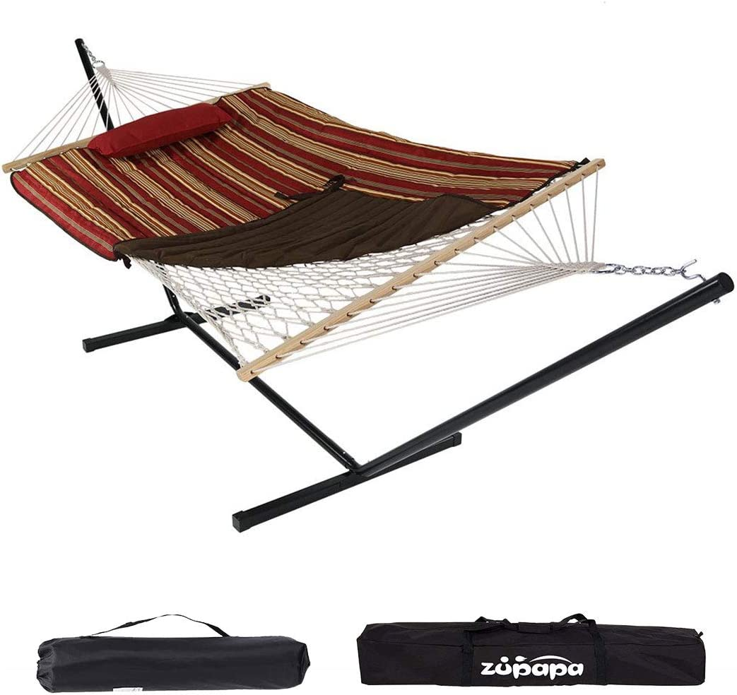 Zupapa Cotton Rope Pad Hammock with Stand 400lbs Capacity, Indoor Outdoor Use 12 Feet Hammock Stand Spreader Bar Hammock Pad and Pillow Combo 2 Storage Bags Included Garnet Red Gold Stripe