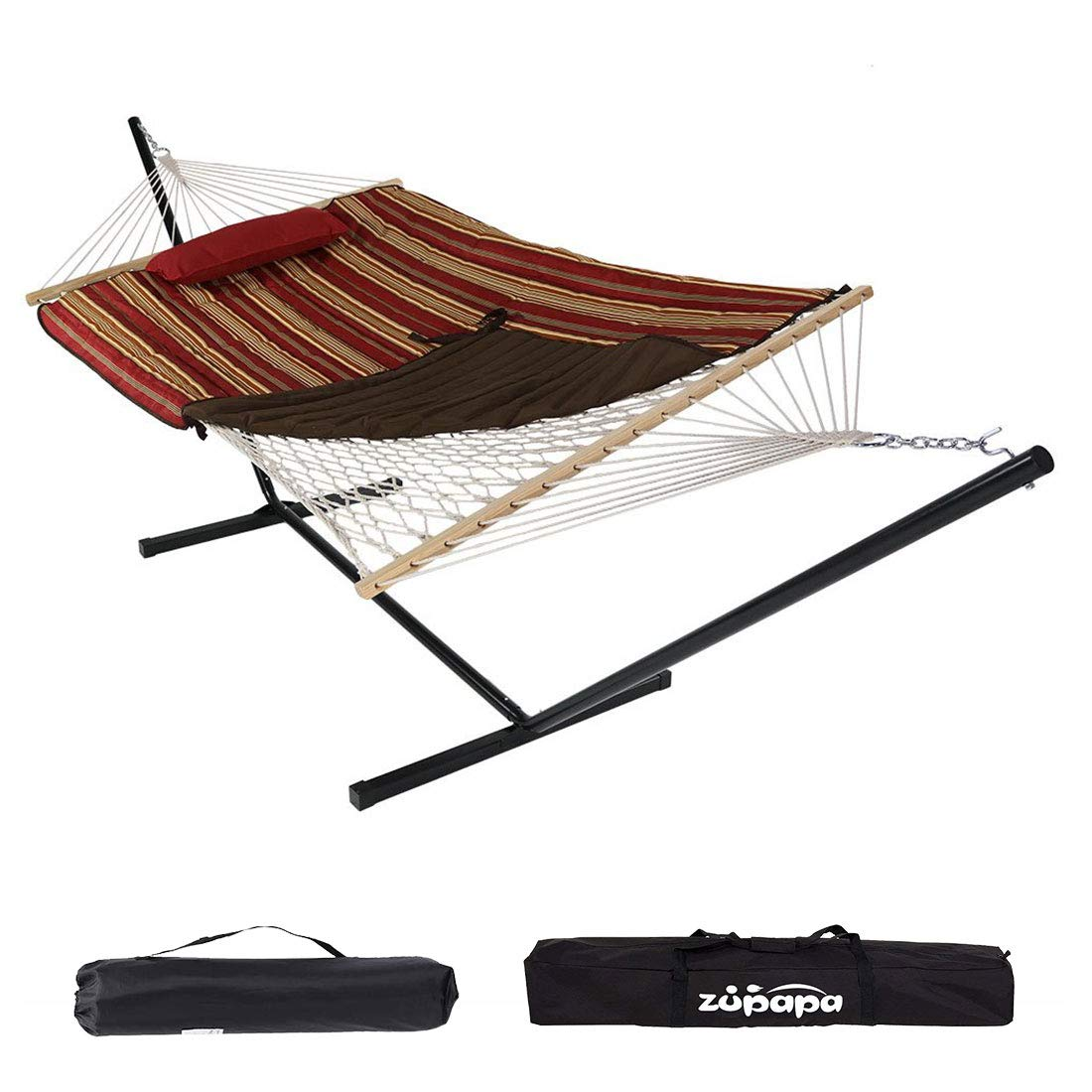 Zupapa Cotton Rope Hammock with Stand 400lbs Capacity, Indoor Outdoor Use 12 Ft Hammock Stand Spreader Bar Hammock Pad and Pillow 2 Storage Bags Included