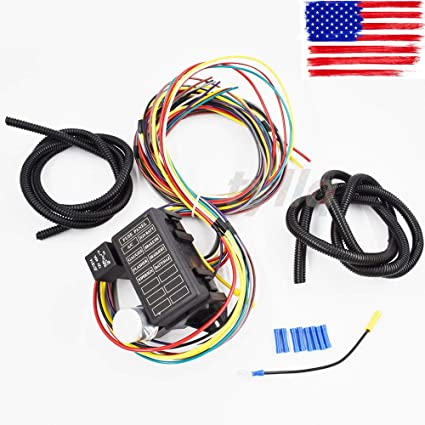 Marvelous Amazon Com 8 Circuit Universal Wire Harness Muscle Car Hot Rod Wiring Cloud Staixuggs Outletorg