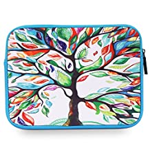 "MoKo Universal 7-8 Inch Tablet Sleeve, Portable Neoprene Case Bag for iPad Mini 4 3 2 1, Samsung Galaxy Tab S2 8.0, LeapFrog LeapPad Platinum, Dragon Touch Y88X Plus/Y88X/Y88 7"", Lucky Tree"