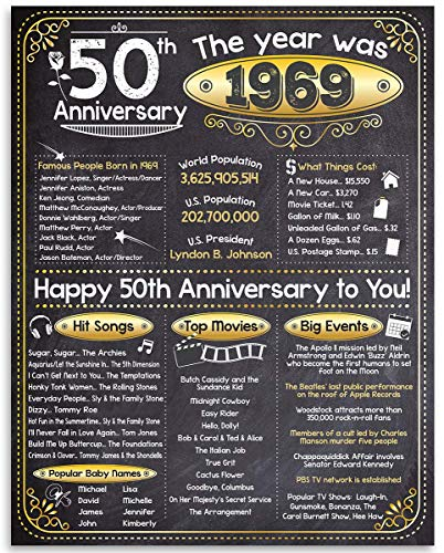 Happy 50th Anniversary (Fifty, 50) - Year 1969-11x14 Unframed Art Print - Makes a Perfect Anniversary Gift Under $15 for 50th Anniversary Celebrants