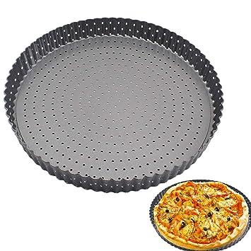 Bandeja para horno Pizza, 28 cm, acero al carbono, resistente a altas temperaturas